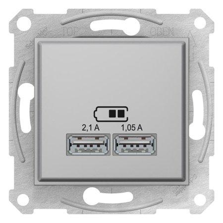 Dvojitá zásuvka nabíječky USB hliník Sedna SDN2710260 Schneider Electric