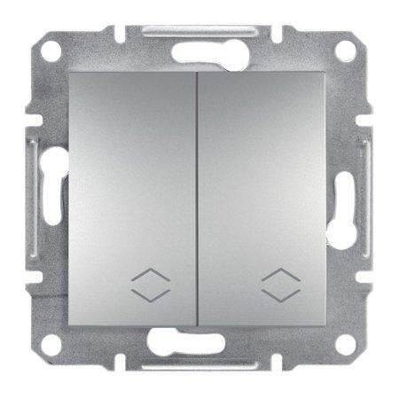Dvojitý vypínač schodišťový šroubové svorky bez rámečku, hliník Schneider Electric Asfora EPH0600361