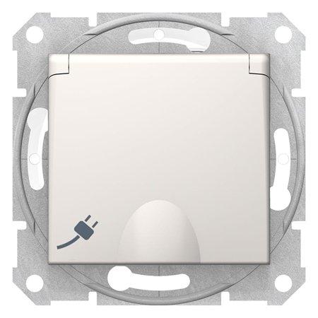 Jednoduchá zásuvka 2P+PE s clonami IP44 krémová Sedna Schneider Electric SDN2800323