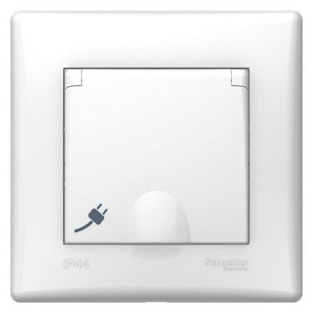 Jednoduchá zásuvka 2P+PE s krytem a rámečkem bílá IP44 Sedna SDN2890321 Schneider Electric