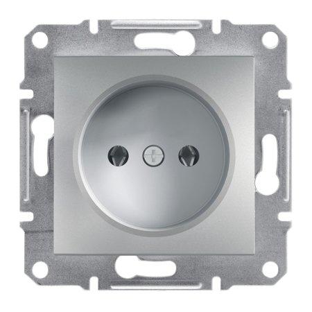Jednoduchá zásuvka 2P bez rámečku, hliník Schneider Electric Asfora EPH3000161