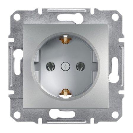 Jednoduchá zásuvka SCHUKO bez rámečku, hliník Schneider Electric Asfora EPH2900161
