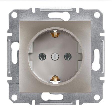 Jednoduchá zásuvka SCHUKO bez rámečku, hnědá Schneider Electric Asfora EPH2900169