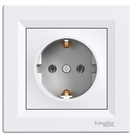 Jednoduchá zásuvka SCHUKO s rámečkem, bílá Schneider Electric Asfora EPH2900121