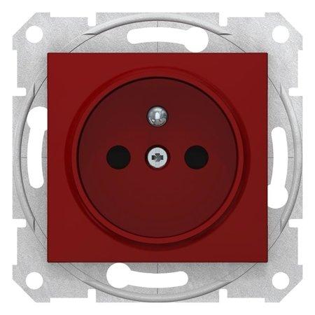 Jednoduchá zásuvka s uzeměním, s clonami červená Sedna SDN2800441 Schneider Electric