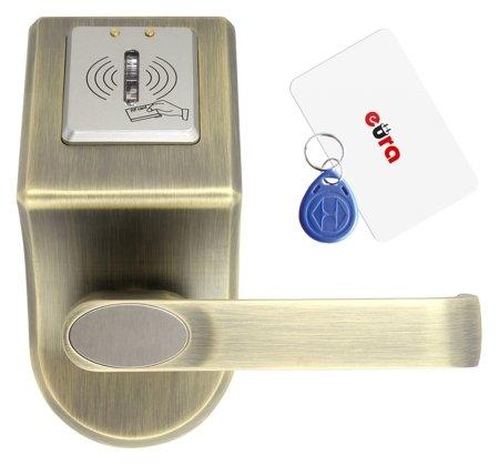 KOVÁNÍ S KONTROLOU PŘÍSTUPU ''EURA'' ELH-60B9 BRASS se čtečkou RFID, univerzální rozteč upevňovacích šroubů WE1A7002