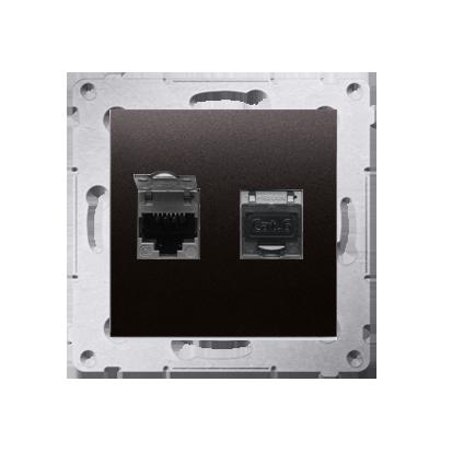 Kontakt Simon 54 Premium Antracit Zásuvka počítačová dvojitá RJ45 kat. 6 stíněné se zaklapávací krytkou D62E.01/48