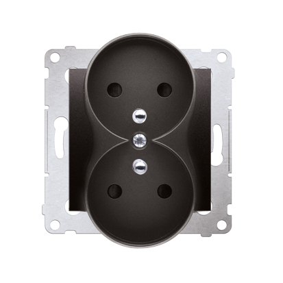 Kontakt Simon 54 Premium Antracit Zásuvka z uz. s clonou dvojitá pro rámečky NATURE šroubové koncovky, DGZ2MZN.01/48