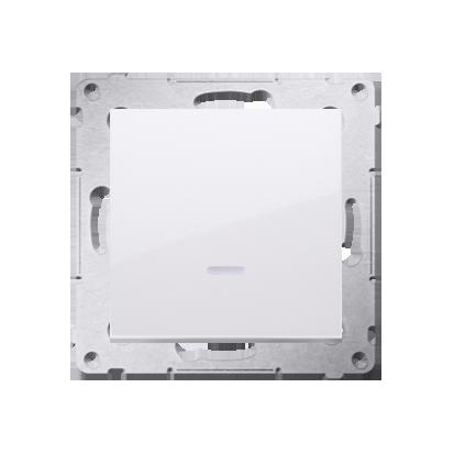 Kontakt Simon 54 Premium Bílý Tlačítko jednopólové zkratovací s podsvícením LED bez pikt. X šroubové koncovky, DP1AL.01/11
