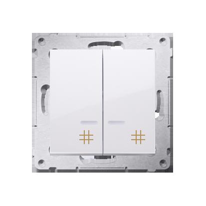 Kontakt Simon 54 Premium Bílý Vypínač křížový dvojnásobný s podsvícením (modul) 10 AX rychlospojka, DW7/2L.01/11