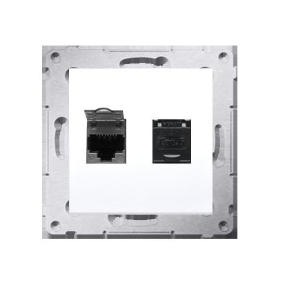 Kontakt Simon 54 Premium Bílý Zásuvka počítačová dvojitá RJ45 kat. 6, se zaklapávací krytkou D62.01/11