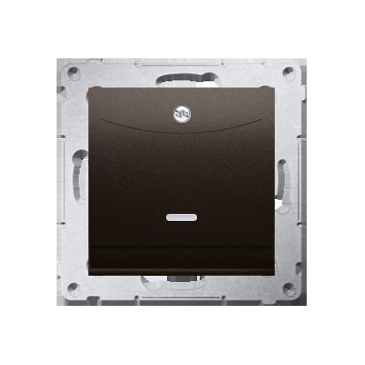 Kontakt Simon 54 Premium Hnědá, matný Vypínač hotelový dvojnásobný -2Z s podsvícením. Jmenovitý proud 10 (2) A . DWH2.01/46