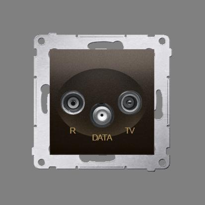 Kontakt Simon 54 Premium Hnědá, matný Zásuvka TV-DATA. Dva výstupy 'F' 5-1000 MHz, DAD1.01/46