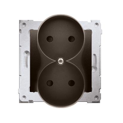 Kontakt Simon 54 Premium Hnědá, matný Zásuvka dvojitá bez uzemnění s clonou šroubové koncovky, DG2MZ.01/46