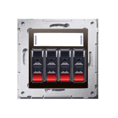 Kontakt Simon 54 Premium Hnědá, matný Zásuvka reproduktoru 4-násobná s popisovým pólem (modul) DGL34.01/46