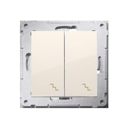 Kontakt Simon 54 Premium Krémová Vypínač schodišťový dvojnásobný s podsvícením (modul) šroubové koncovky, DW6/2L.01/41