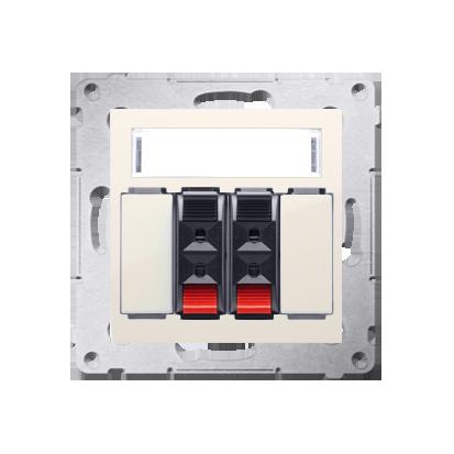 Kontakt Simon 54 Premium Krémová reproduktorová zásuvka 2-násobná s popisovým polem (modul) DGL32.01/41