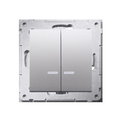 Kontakt Simon 54 Premium Stříbrná Přepínač sériový s podsvícením LED, pro verzi IP44 DW5ABL.01/43