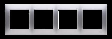 Kontakt Simon 54 Premium Stříbrná Rámeček 4-násobný univerzální pro sádrokartonové krabice IP20/IP44, DRK4/43