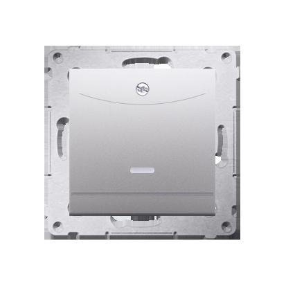 Kontakt Simon 54 Premium Stříbrná Vypínač hotelový dvojnásobný -2Z s podsvícením. Jmenovitý proud 10 (2) A . DWH2.01/43