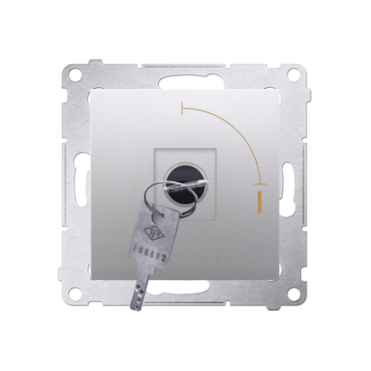 "Kontakt Simon 54 Premium Stříbrná Vypínač na dočasný klíč 2 polohový ""0-I"" spínač N/O vyt. klíče pouze v pozici 0, DP1K.01/43"
