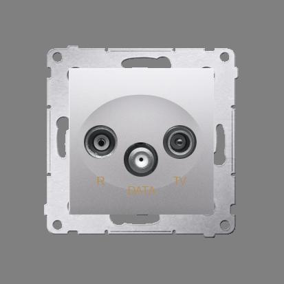 Kontakt Simon 54 Premium Stříbrná Zásuvka TV-DATA. Dva výstupy 'F' 5-1000 MHz, DAD1.01/43