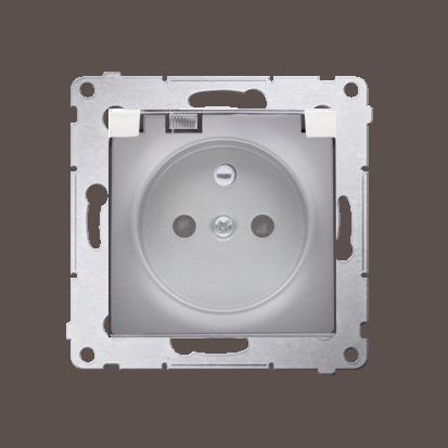 Kontakt Simon 54 Premium Stříbrná Zásuvka pro verzi IP44 transparentní klapka, DGZ1BZ.01/43A