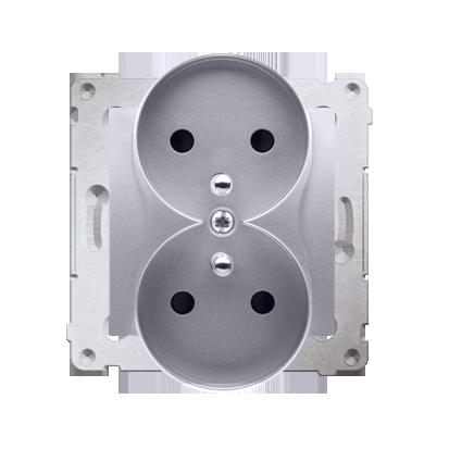 Kontakt Simon 54 Premium Stříbrná Zásuvka z uz. s clonou dvojitá pro rámečky NATURE šroubové koncovky, DGZ2MZN.01/43