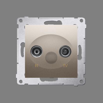 Kontakt Simon 54 Premium Zlatá Anténní zásuvka R-TV průběžná (modul), útlum. TV a R 10 dB, DAP10.01/44
