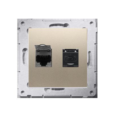 Kontakt Simon 54 Premium Zlatá Zásuvka počítačová dvojitá RJ45 kat. 6, se zaklapávací krytkou D62.01/44