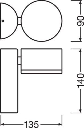 Nástěnné fásadní svítidlo 8W 3000K IP54 OUTDOOR FACADE SPOT White LEDVANCE