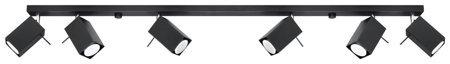 Plafon Merida 6xGU10 černá Sollux SL.0460