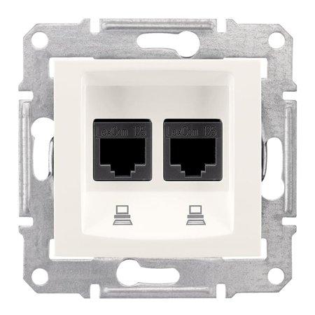 Počítačová dvojitá zásuvka kategorie 5e krémová Sedna SDN4400123 Schneider Electric