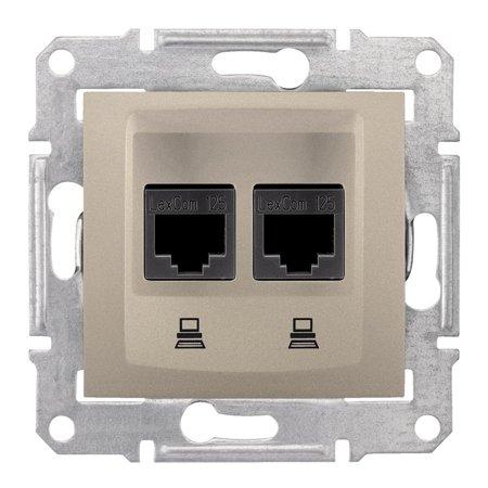 Počítačová dvojitá zásuvka kategorie 5e saténová Sedna SDN4400168 Schneider Electric