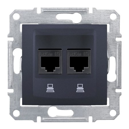 Počítačová dvojitá zásuvka kategorie5e, grafitová Sedna SDN4400170 Schneider Electric
