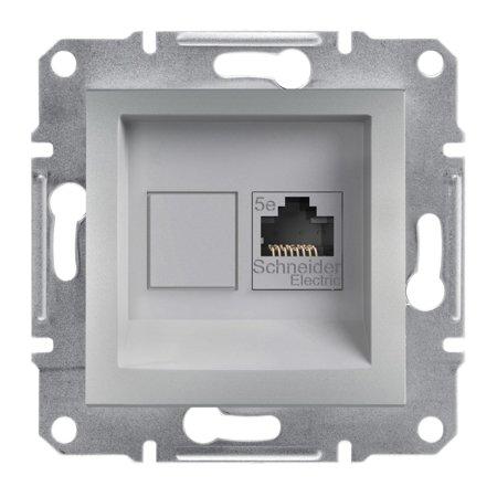 Počítačová zásuvka kat.5e UTP bez rámečku, hliník Schneider Electric Asfora EPH4300161