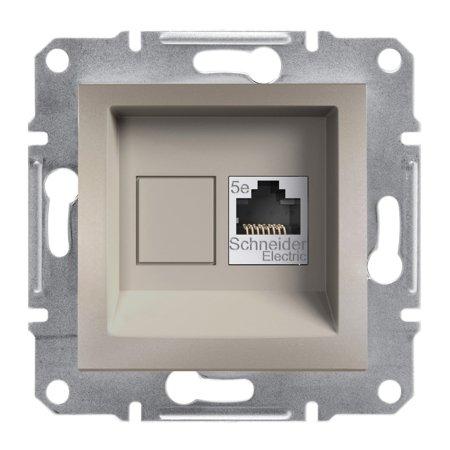 Počítačová zásuvka kat.5e UTP bez rámečku, hnědá Schneider Electric Asfora EPH4300169
