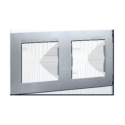 Rámeček 2-násobný - univerzální vertikální a svislé, hliník (kov) Kontakt Simon 1501620-026