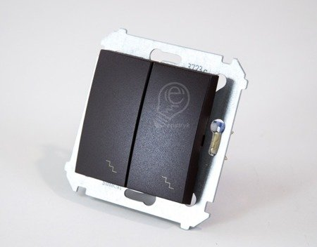 Simon 54 Premium Hnědá, matný Vypínač schodišťový dvojnásobný s podsvícením (modul) šroubové koncovky, DW6/2L.01/46