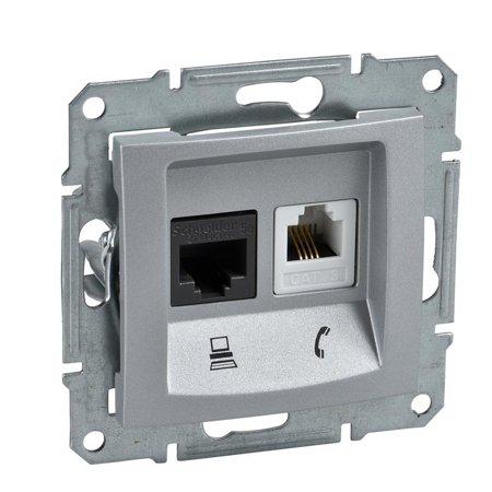 Telefonní a počítačová zásuvka kategorie 5e hliník Sedna SDN5100160 Schneider Electric