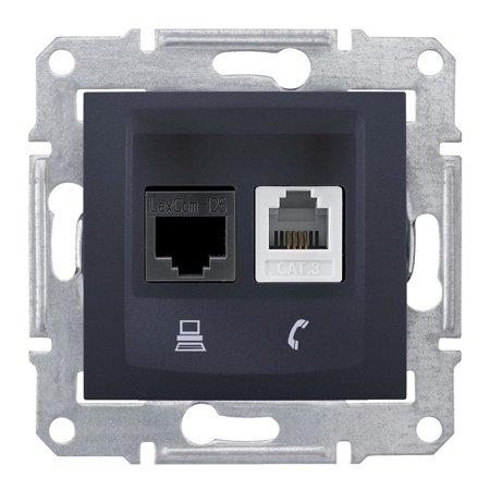 Telefonní a počítačová zásuvka kategorie5e, grafitová Sedna SDN5100170 Schneider Electric