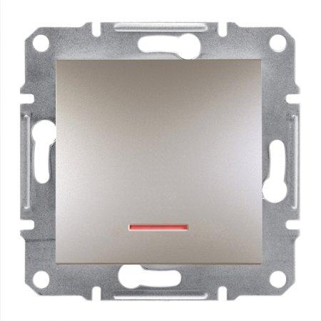 Tlačítko s podsvícením bez rámečku, hnědá Schneider Electric Asfora EPH1600169