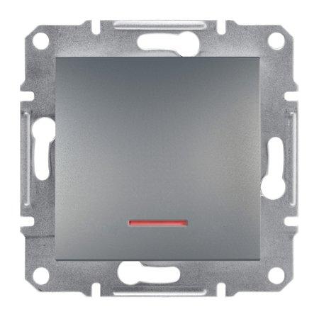 Tlačítko s podsvícením bez rámečku, ocel Schneider Electric Asfora EPH1600162