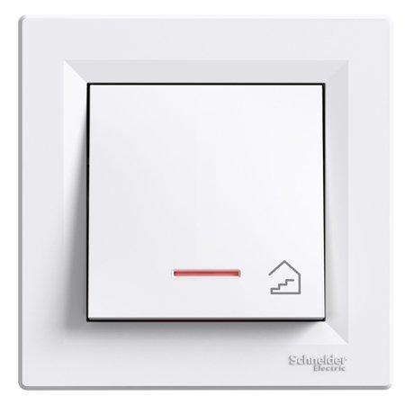 Tlačítko schody s podsvícením a rámečkem, bílá Schneider Electric Asfora EPH1900121