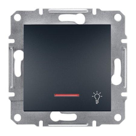 Tlačítko světlo s podsvícením bez rámečku, antracit Schneider Electric Asfora EPH1800171
