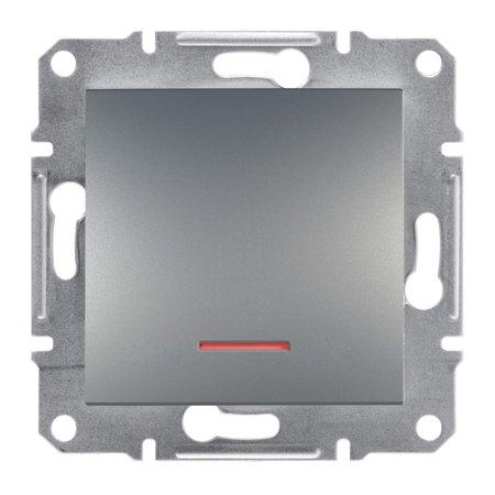 Vypínač 1-pólový s podsvícením šroubové svorky bez rámečku, ocel Schneider Electric Asfora EPH1400362