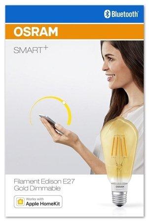 Žárovka vlákno LED stmívatelná GOLD 5,5W E27 SMART+ Filament Edison Dimmable Bluetooth OSRAM