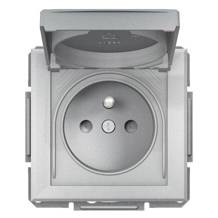 Zásuvka 2P+PE IP44 do rámečkového systému, hliník Schneider Electric Asfora EPH2800661