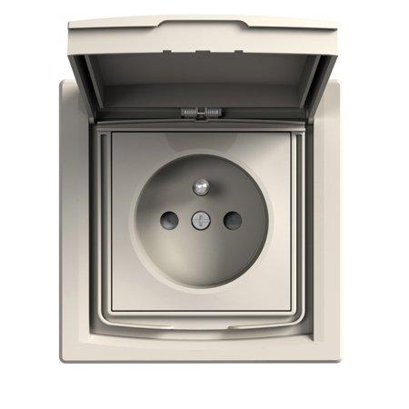 Zásuvka 2P+PE IP44 s rámečkem 1-násobná s clonami, krémová Schneider Electric Asfora EPH2800323