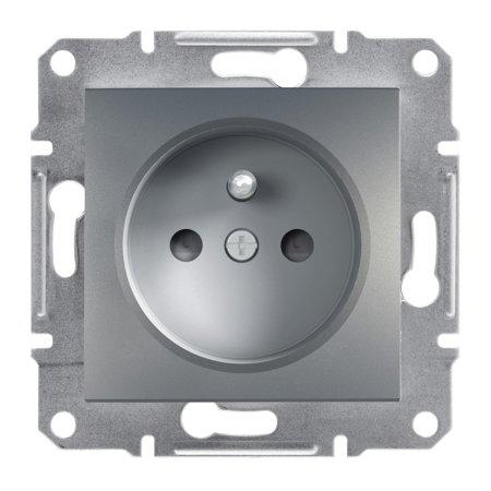 Zásuvka 2P+PE s clonami bez rámečku, ocel Schneider Electric Asfora EPH2800262